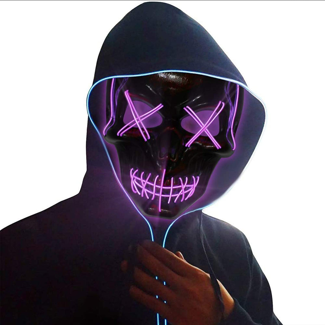 Halloween LED Wire?Scary?Light Up Glowing Mask for Cosplay, Costume Party - thegsnd