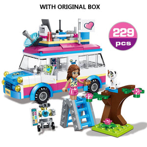 534pcs Children's Building Blocks Girls Series City Outing Camper Car Friends Compatible Bricks Toys For Children Gift - thegsnd
