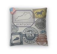 Throw Pillow, Stamp Set With The Name And Map Of Kentucky United States-Throw Pillow-Gear New-thegsnd