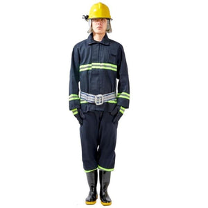 6 In 1 Firefighter Suits Insulated Flame-retardant Coat Anti-impact Helmet Reflective Gloves Electric Shock-proof Rubber Boots - thegsnd