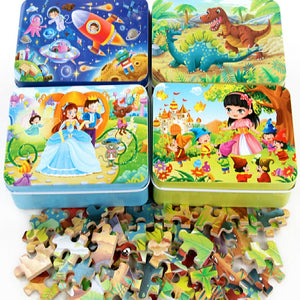 60 Pieces Wooden Puzzle Kids Toy Cartoon Animal Wood Jigsaw Puzzles Child Early Educational Learning Toys for Christmas Gift - thegsnd