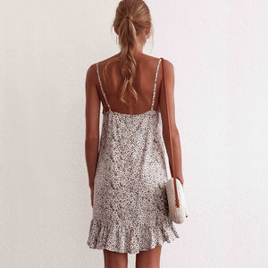 Floral Print Summer Dress Women V Neck Sleeveless Spaghetti Strap Mini Dress Ruffle Casual Beach Dress Sundress Ladies Dresses - thegsnd