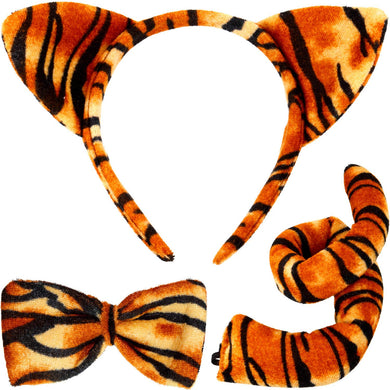 Animal Costume Set Animal Ears Nose Tail and Bow Tie Animal Fancy Dress Costume Kit Accessories for Kids (Giraffe Costume) Brown - thegsnd