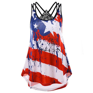Plus Size Women Tank Tops Sexy Backless Lace US Flag Print Striped Sleeveless Cami Tops Tee Shirt regata - thegsnd