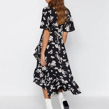 Load image into Gallery viewer, V neck bohemian floral print women sexy dress Elegant sash A line ruffled summer dress Short sleeve holiday dress - thegsnd