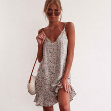 Load image into Gallery viewer, Floral Print Summer Dress Women V Neck Sleeveless Spaghetti Strap Mini Dress Ruffle Casual Beach Dress Sundress Ladies Dresses - thegsnd