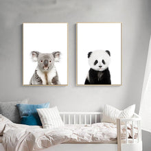 Load image into Gallery viewer, Baby Animal Cat Tiger Panda Wall Art Canvas Painting Nursery Nordic Posters and Prints Decorative Picture Kids Room Decor - thegsnd