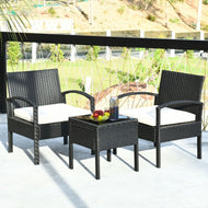 Rattan Patio Furniture - 2 Cushioned Chairs With Garden Table-Furniture-MerchMixer-thegsnd