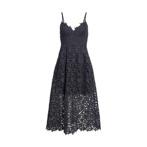 Sexy Blue Lace Party Skater Dress Women Hollow Out Nude Illusion A Line Dresses Ladies Sleeveless Midi Beach Dress - thegsnd