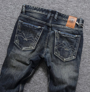 Men Jeans High Quality Slim Fit Classical Jeans Cotton Denim Long Pants Brand Printed Jeans Men Size 29-38 - thegsnd