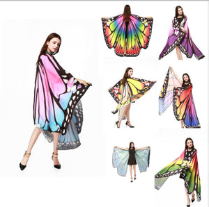7 Colors Women Scarf Pashmina Butterfly Wing Cape Peacock Shawl Wrap Gifts Cute Novelty Print Scarves Pashminas - thegsnd