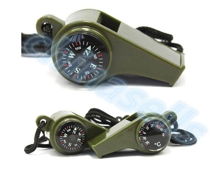 800pcs 3 in1 Camping Hiking Emergency Survival Gear Whistle Compass Thermometer Outdoor Need ArmyGreen Color with rope - thegsnd