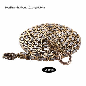 86cm/101cm Gold Silver Color Steel Self Defense Hand Bracelet Chain Dragon Head And Tail Outdoor Camping Hiking Tools - thegsnd