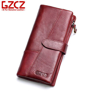 GZCZ Genuine Leather Women Wallet Purse Female Luxury Cow Leather Business Women's Handbag Genuine Leather Pouch - thegsnd
