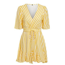 Load image into Gallery viewer, Vintage Striped Women Dress V Neck Ruffle Cotton Short Summer Dress - thegsnd