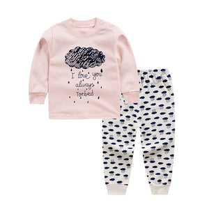 Pink bebes baby cotton suits sets children's clothing set baby girl suits two-piece suits cotton clothes for children 12m3t-8T - thegsnd