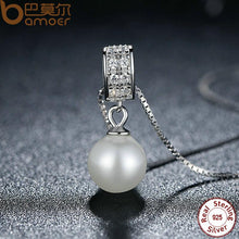 Load image into Gallery viewer, BAMOER 925 Sterling Silver Simulated Pearl Pendant Necklace Long Chain Necklace SCN030 - thegsnd