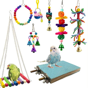 8PCS/Set Random Color Wooden Bead Bird Toy Kit Parrot Cage Swing Toys Birds Chewing Hanging Bell - thegsnd