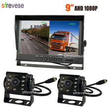 "Load image into Gallery viewer, 9"" IPS HD SD DVR Recording 2CH Split 4Pin Car Rear View Monitor + 2x Waterproof AHD 1080P Reversing Backup Camera For Bus Truck-Automobile Accessories-thegsnd-thegsnd"