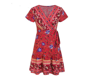 Simplee Bohemian floral mini women summer dress festa V neck ruffle bandage dress female 2019 Elegant holiday beach sundress - thegsnd