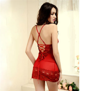 Lace Dress Sexy Sleepwear Female Temptation Women's Summer Lace Nightgown Spaghetti Strap Belt Underwear - thegsnd