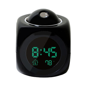 LCD Projection LED Display Time Digital Alarm Clock Talking Voice Prompt Thermometer Snooze Function Desk - thegsnd