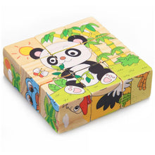 Load image into Gallery viewer, 9Pcs/Set 3D Puzzle Wooden Toys Six Sides Animal Pattern Wood Cube Jigsaw Puzzles Toys for Children Educational Toys Random Send - thegsnd