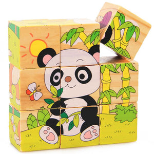 9Pcs/Set 3D Puzzle Wooden Toys Six Sides Animal Pattern Wood Cube Jigsaw Puzzles Toys for Children Educational Toys Random Send - thegsnd