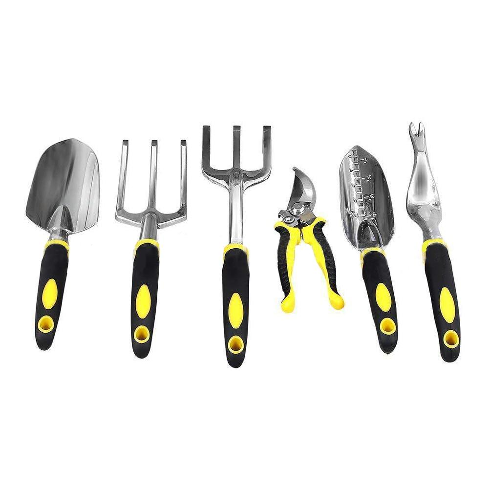 9pcs Trowel Planting Storage Cultivator Cut-resistant Gloves Pruner Colorful Handle Garden Tool Set Weeder Tote Aluminium Alloy - thegsnd