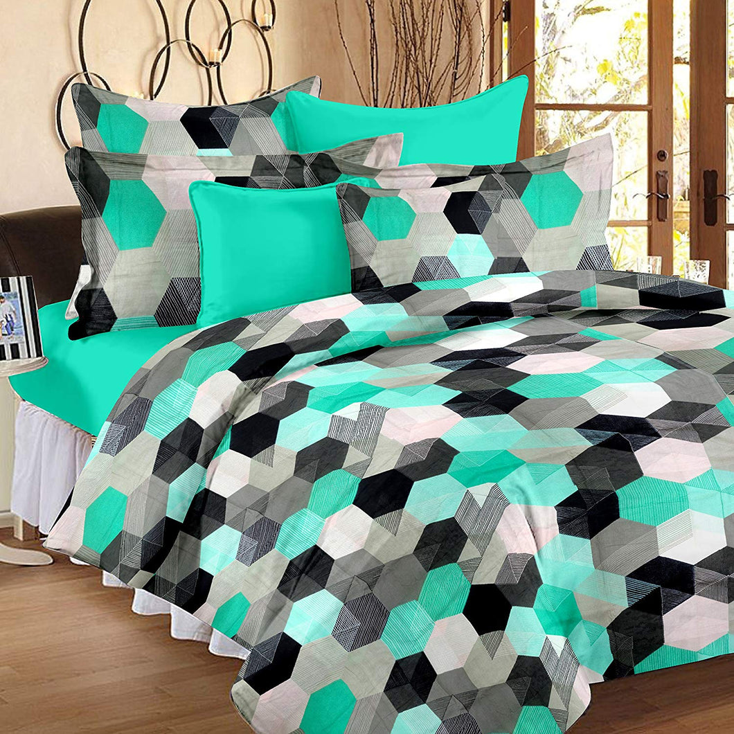 Ahmedabad Cotton Comfort 160 TC Cotton Double Bedsheet with 2 Pillow Covers - Green - thegsnd