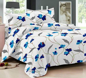 Ahmedabad Cotton Comfort 160 TC Cotton Double Bedsheet with 2 Pillow Covers - Floral, White and Blue - thegsnd