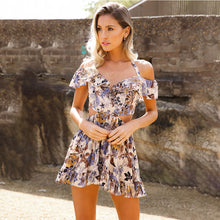 Load image into Gallery viewer, Women Summer Beach Dress Casual Sleeveless Short Mini Dress Colorful Flower Patterns Dress - thegsnd
