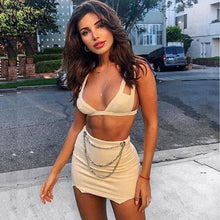 Load image into Gallery viewer, Two Piece Set 2 Piece Set Women Crop Top And Skirt Set Suede Skirt Two Piece Outfits Matching Sets Conjunto Feminino-thegsnd