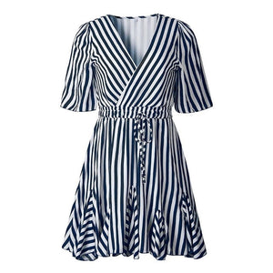 Vintage Striped Women Dress V Neck Ruffle Cotton Short Summer Dress - thegsnd