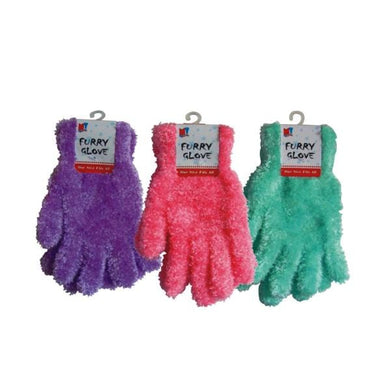 Ladies Furry Gloves - Assorted Case Pack 144 - thegsnd