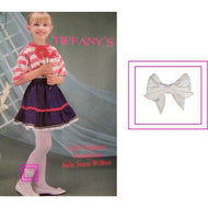 Girl's White Bow Ornament Tights - Size Large Case Pack 24 - thegsnd