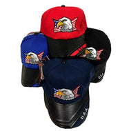 American Flag Eagle Head Hat With Leather Bill Case Pack 36 - thegsnd