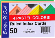 Index Cards - Pastel Asst. Colors - 4x6- 50 Ct Case Pack 60 - thegsnd