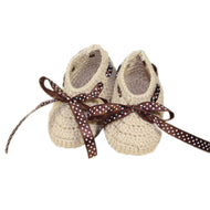 Baby Infant Handmade Crochet Shoes Knit Warm Winter Sock Gift 10cm Beige - thegsnd