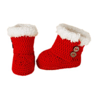 Baby Handmade Crochet Shoes Knit Winter Sock Keepsake Gift 11cm Christmas Red - thegsnd