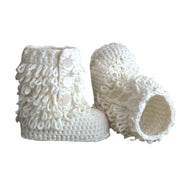 Baby Handmade Crochet Shoes Knit Winter Sock Boot Keepsake Gift 11cm White - thegsnd