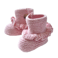 Baby Handmade Crochet Shoes Knit Winter Sock Boot Keepsake Gift 11cm Pink - thegsnd