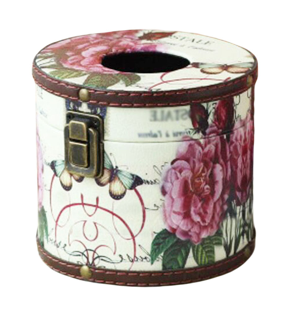 Creative Retro Circular Tissue Box Wooden Rural Style Holders-a - thegsnd