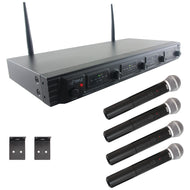 Pyle(r) Pdwm4520 Uhf Quad-channel Fixed-frequency Wireless Microphone System (4 Handheld Microphones) - thegsnd