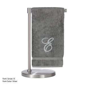 Monogrammed Bath Towel, Personalized Gift, 27 X 54 Inches - Set Of 2 - Silver Script Embroidered Towel - 100% Turkish Cotton- Soft Terry Finish - For Bathroom,kitchen Or Spa - Script E Gray -