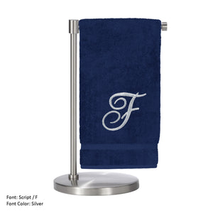 Monogrammed Bath Towel, Personalized Gift, 27 X 54 Inches - Set Of 2 - Silver Script Embroidered Towel - 100% Turkish Cotton- Soft Terry Finish - For Bathroom,kitchen Or Spa - Script F Navy -