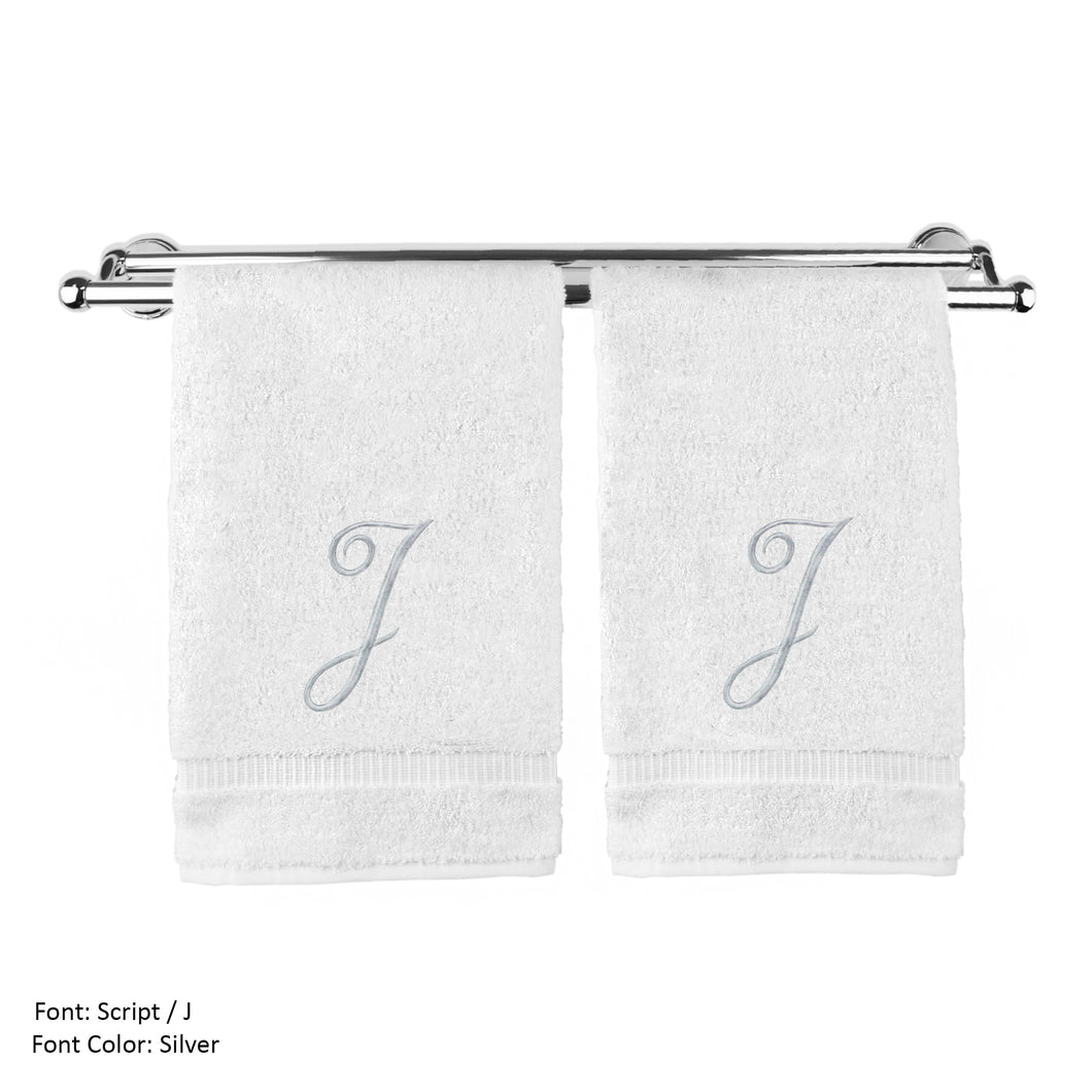 Monogrammed Washcloth Towel, Personalized Gift, 13x13 Inches - Set Of 2 - Silver Script Embroidered Towel - Extra Absorbent 100% Turkish Cotton - Soft Terry Finish - Initial J White - thegsnd