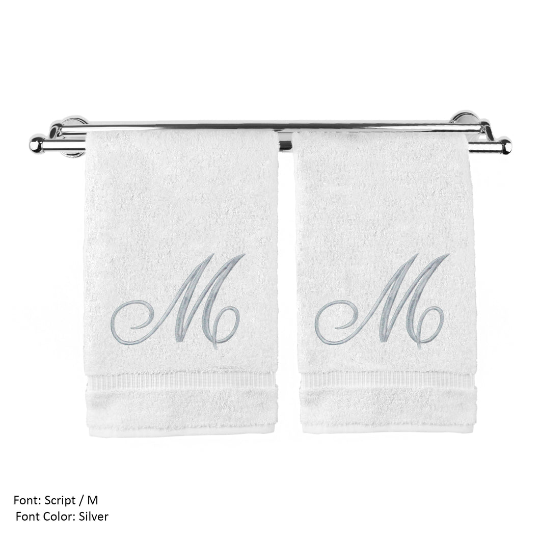 Monogrammed Washcloth Towel, Personalized Gift, 13x13 Inches - Set Of 2 - Silver Script Embroidered Towel - Extra Absorbent 100% Turkish Cotton - Soft Terry Finish - Initial M White - thegsnd