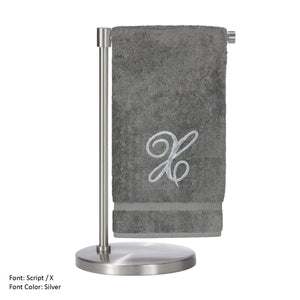 Monogrammed Bath Towel, Personalized Gift, 27 X 54 Inches - Set Of 2 - Silver Script Embroidered Towel - 100% Turkish Cotton- Soft Terry Finish - For Bathroom,kitchen Or Spa - Script X Gray -