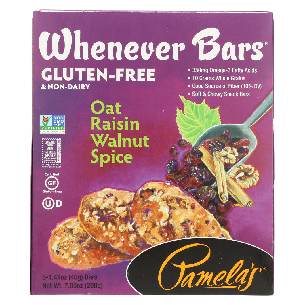 Pamela's Products Oat Spice Whenever Bars - Raisin Walnut - Case Of 6 - 1.41 Oz. - thegsnd